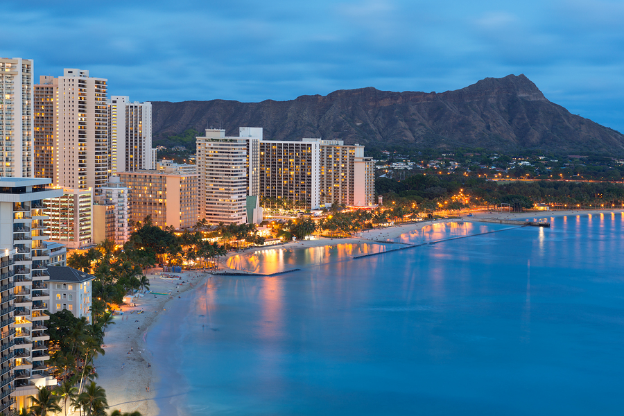 Honolulu City And Waikiki Beach At Night